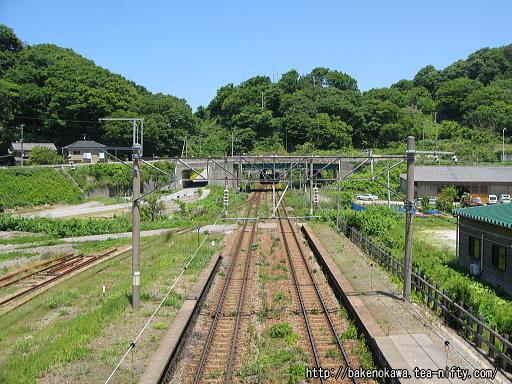 跨線橋上から見た鶴岡方面