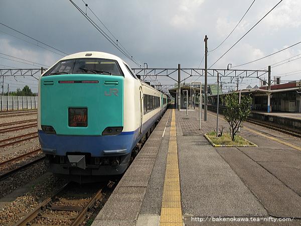 中条駅に停車中の485系電車特急「いなほ」