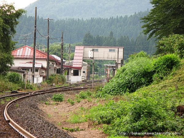 日出谷方の踏切から見た旧駅舎時代の津川駅構内