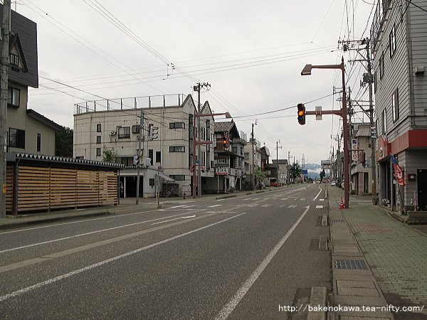 越後田沢駅付近の国道117号線