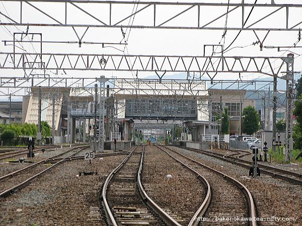 踏切から見た豊野駅構内