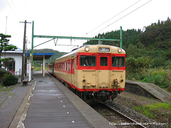 石地駅を通過するキハ58系気動車「なつかしの急行ひめかわ号」