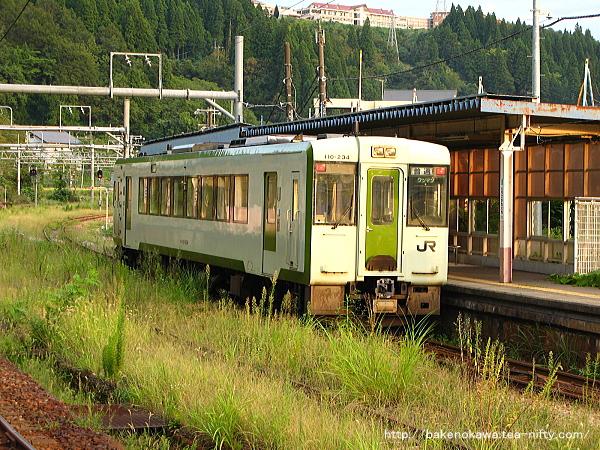 越後川口駅で折り返し待機中のキハ110系気動車その2