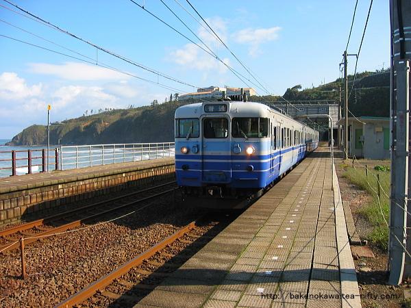 中越沖地震前の青海川駅を出発する115系電車