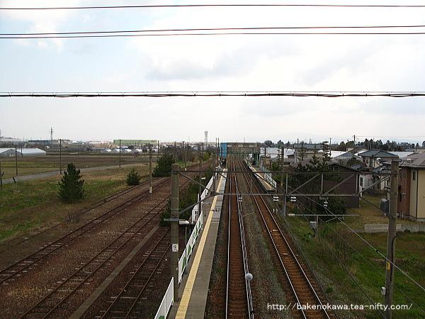 陸橋上から見た黒山駅構内