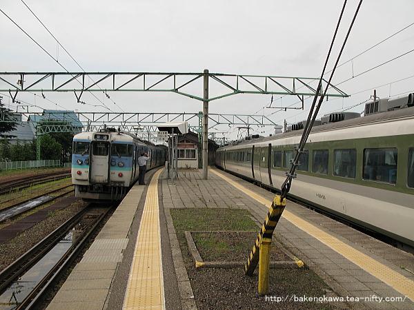 二本木駅で列車交換中の189系電車「妙高」と115系電車その2