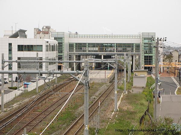 駅南方の陸橋上から見た構内