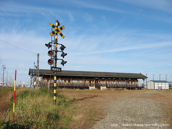 静態保存されていた蒲原鉄道の電車