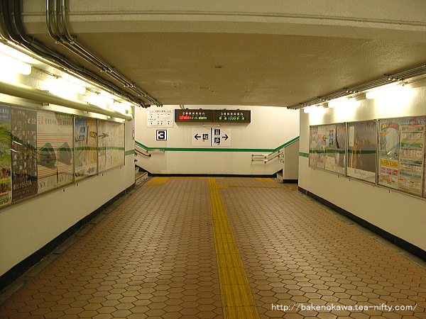 2面3線の構内を連絡する地下道の様子