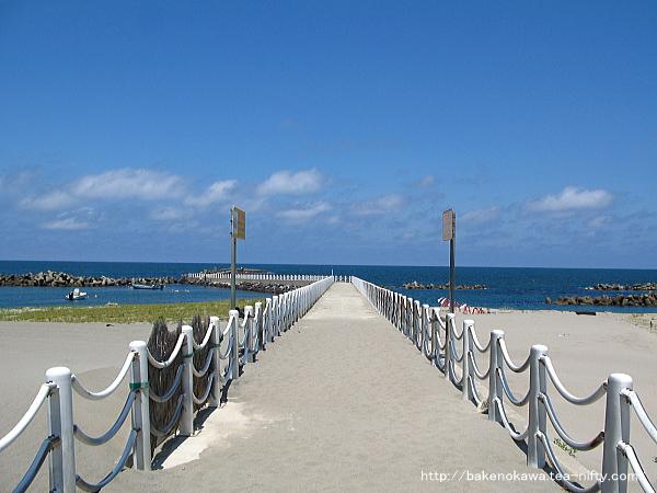 日本海に向かって伸びる突堤
