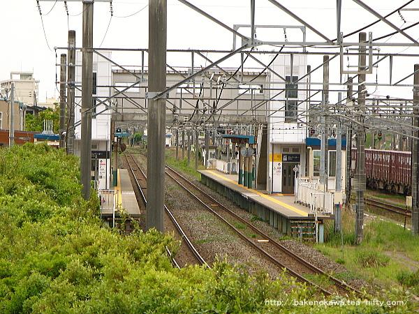 前述の陸橋を上りつつ、東新潟駅構内を見てみる