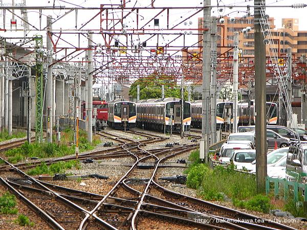 構内の電車の留置線