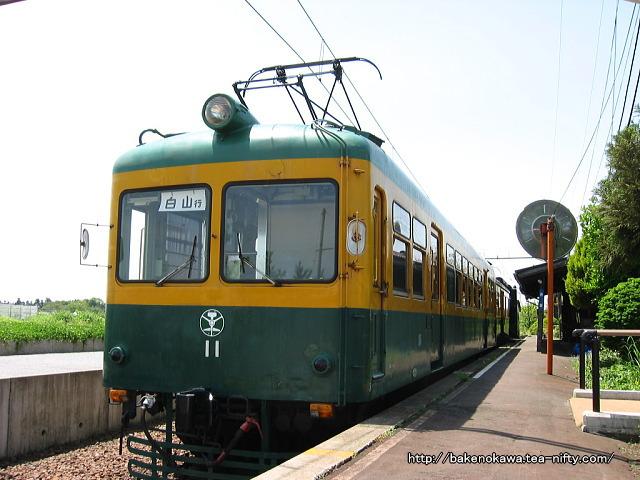 ホームで展示されている電鉄線の電車その2