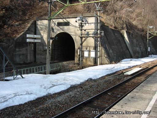 上りホームから見た新清水トンネル入口