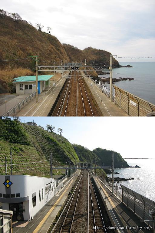 青海川駅の被災前後の比較その一