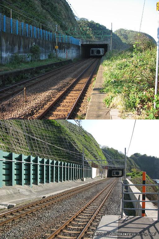 青海川駅の被災前後の比較その二