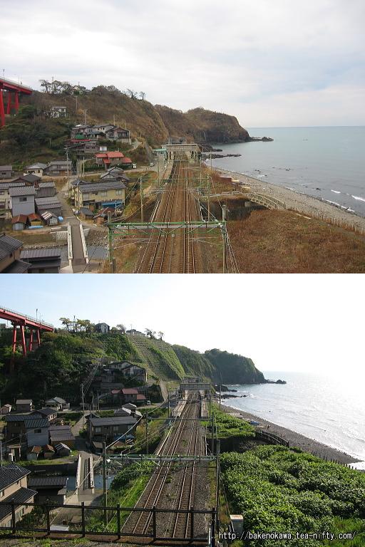 青海川駅の被災前後の比較その三