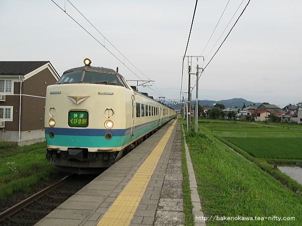 北新井駅に到着する485系電車快速「くびき野」、