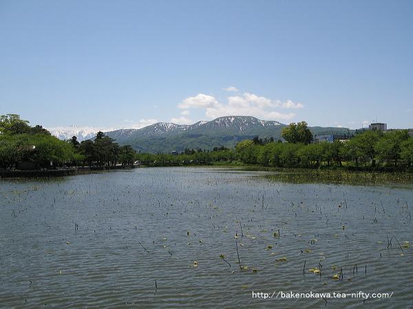 高田公園内の堀とその先の山々