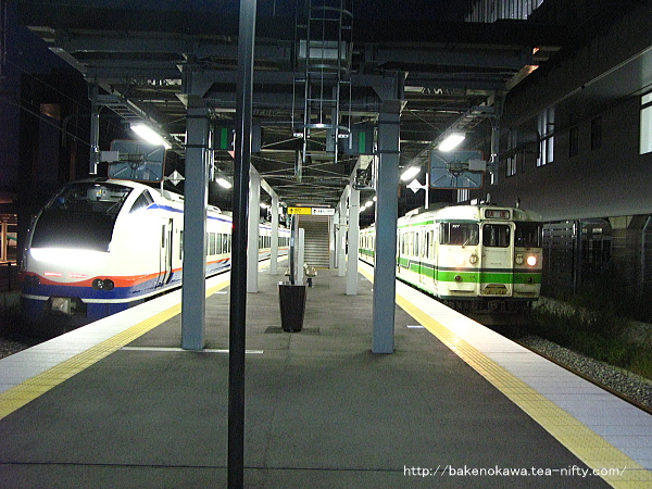 上越妙高駅で列車交換する特急「しらゆき」と115系電車