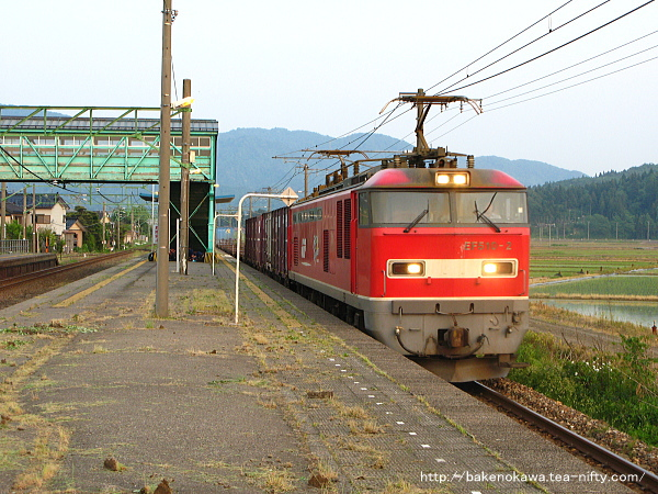 安田駅を通過するEF510形電気機関車牽引の貨物列車