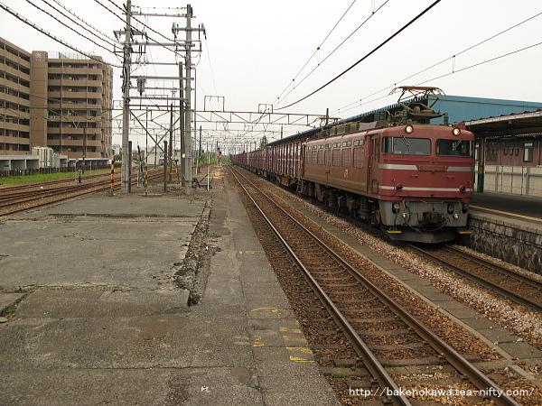 東三条駅を通過するEF81形電気機関車牽引の貨物列車