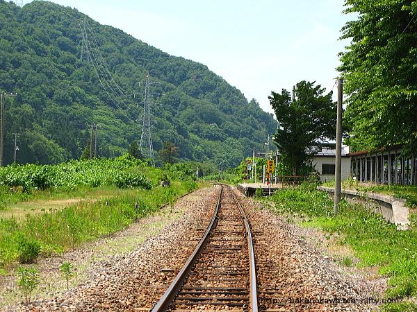 踏切から見た越後大島駅構内