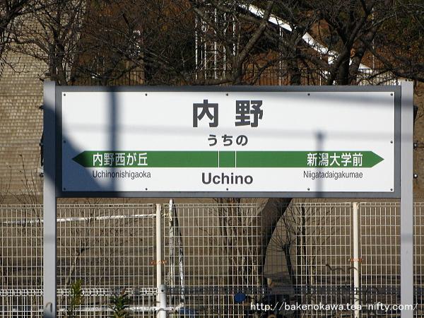 内野駅の駅名票