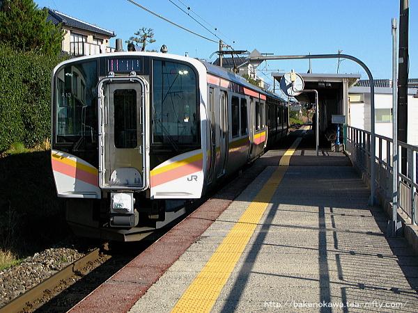 新潟大学前駅に停車中のE129系電車