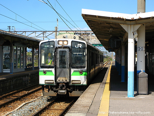 中条駅から出発するE127系電車