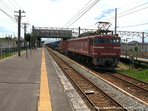 中条駅で待機中のEF81形電気機関車牽引の貨物列車