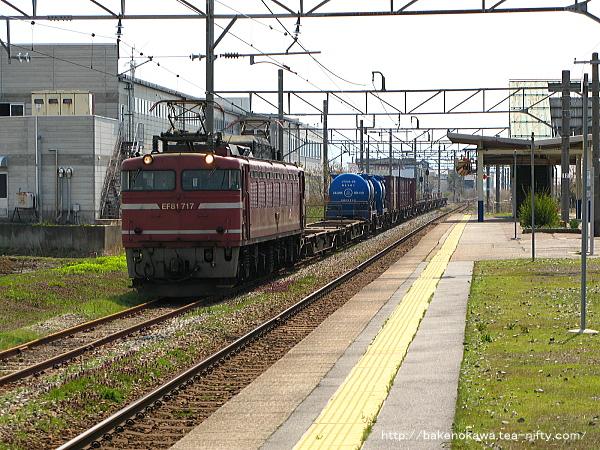 構内の待避線に進入するEF81形電気機関車牽引の貨物列車