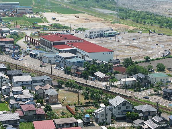 展望台から見下ろした大糸線姫川駅