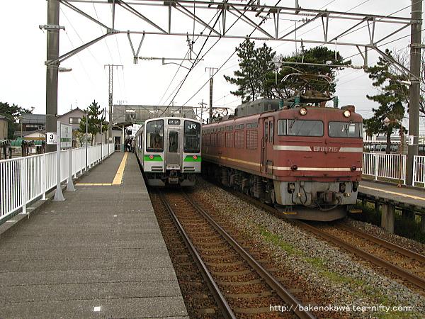 E127系電車とEF81形電気機関車牽引の貨物列車が大形駅で顔合わせ