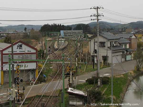 陸橋上から見た寺泊駅とその周辺