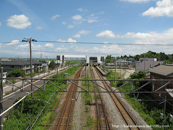 陸橋上から見た矢代田駅全景