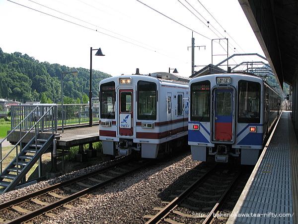 虫川大杉駅で列車交換中のHK100形電車