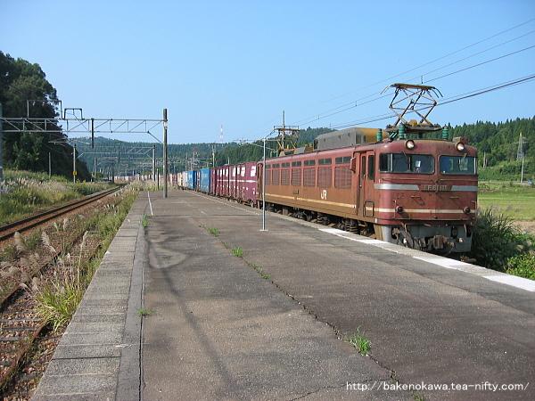 越後広田駅を通過するEF81形電気機関車牽引の貨物列車