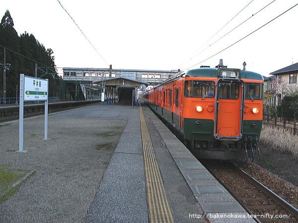 平木田駅に到着した湘南色115系電車
