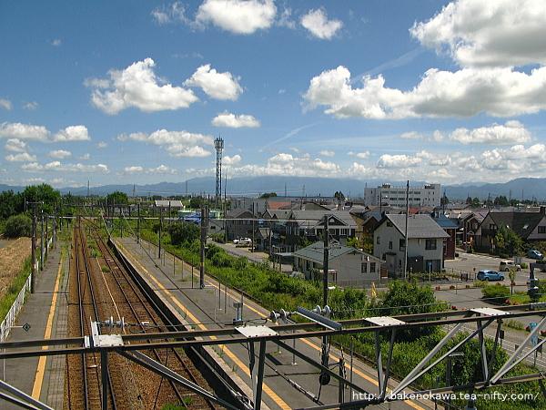 橋上駅舎の自由通路から見た構内