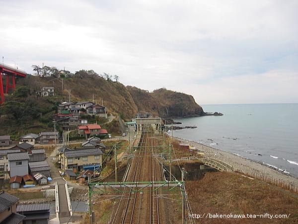 米山大橋側から見た中越沖地震前の青海川駅