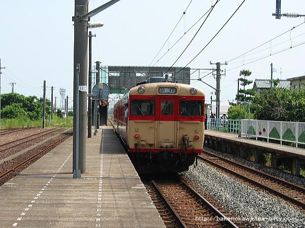 黒山駅に運転停車中のキハ58系気動車「なつかしの急行羽越号」その二