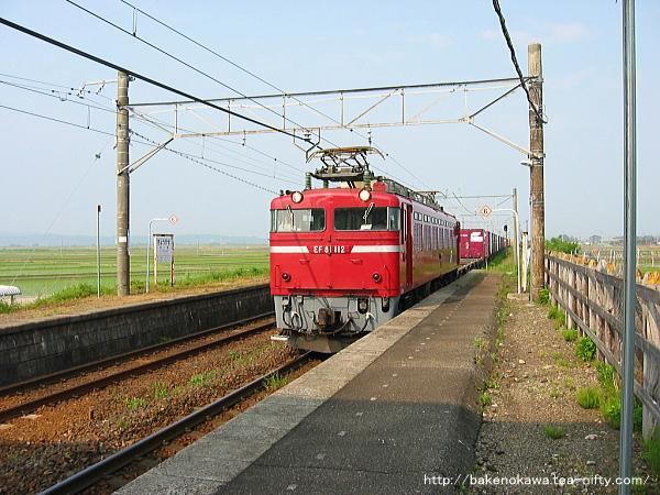 京ヶ瀬駅に進入するEF81形電気機関車牽引の貨物列車