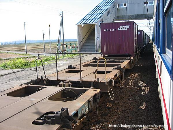 普通列車と貨物列車が京ヶ瀬駅で列車交換