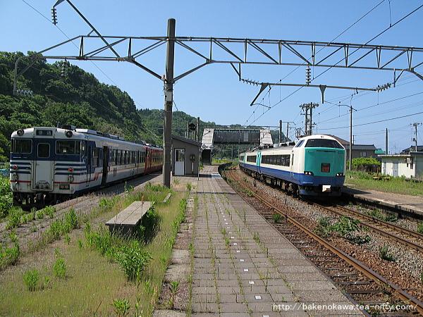 間島駅に停車中のキハ40系気動車と通過する特急「いなほ」