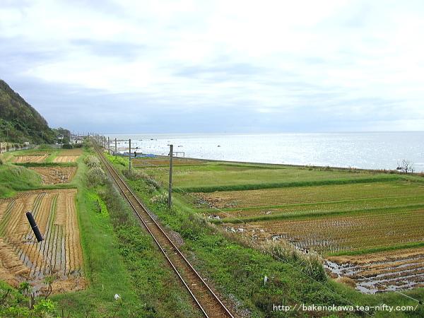 陸橋上から見た海辺の羽越本線