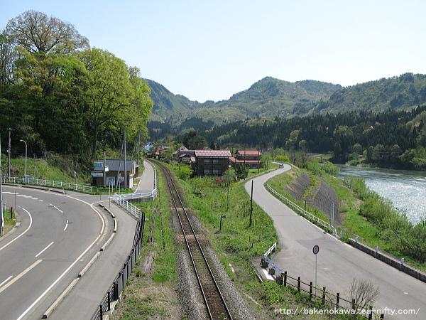 陸橋上から見た磐越西線の野沢方