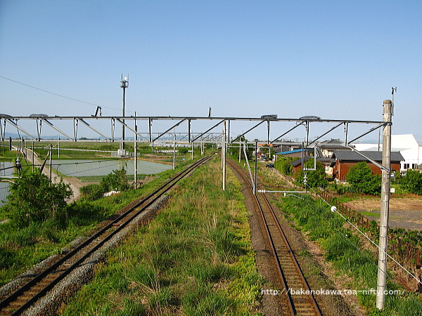 跨線橋上から見た構内の新津方