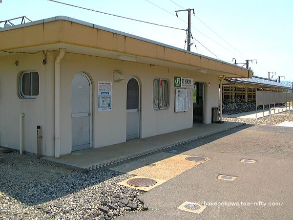 横から見た岩船町駅駅舎